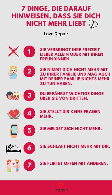 Grafik mit 7 Dingen, an denen du erkennst, dass sie dich nicht mehr liebt