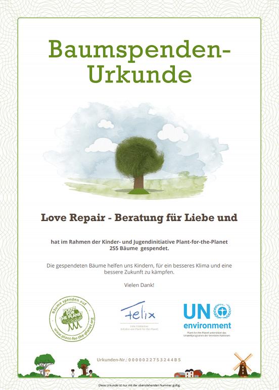 Baumspenden-Urkunde von Love Repair