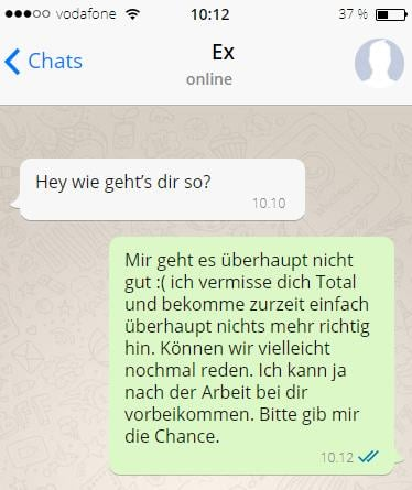 kontaktsperre ex meldet sich