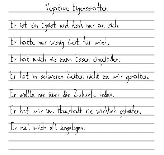Liste mit negativen Eigenschaften