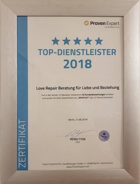 Auszeichnung für das Unternehmen Love-Repair 2018