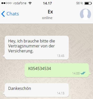 Nachricht vom Ex Partner